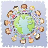 Children Circling Earth