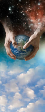 Earth being held in hands from the universe